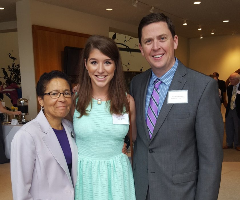 Juliana Batista '16 with Dr. Renee Alexander, former associate dean of students, and Ryan Lombardi, vice president for Student and Campus Life at Cornell.
