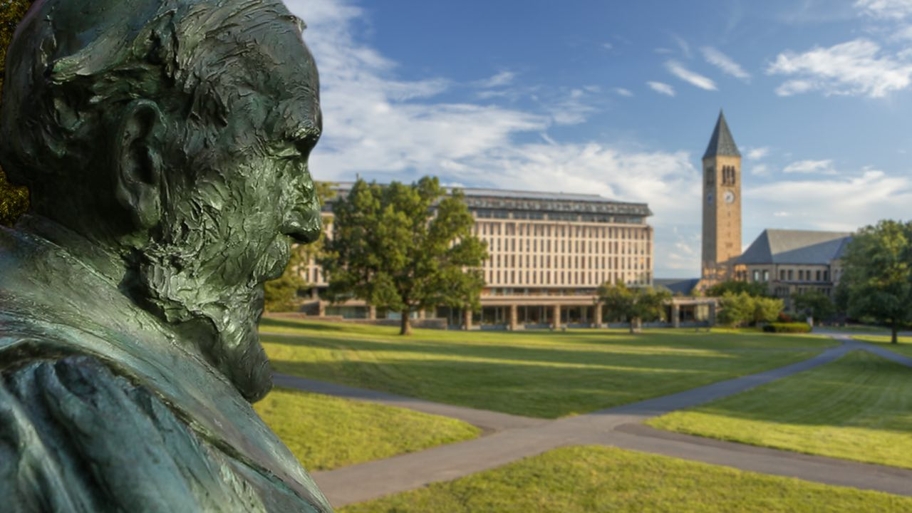 The statue of A.D. White on the Arts Quad