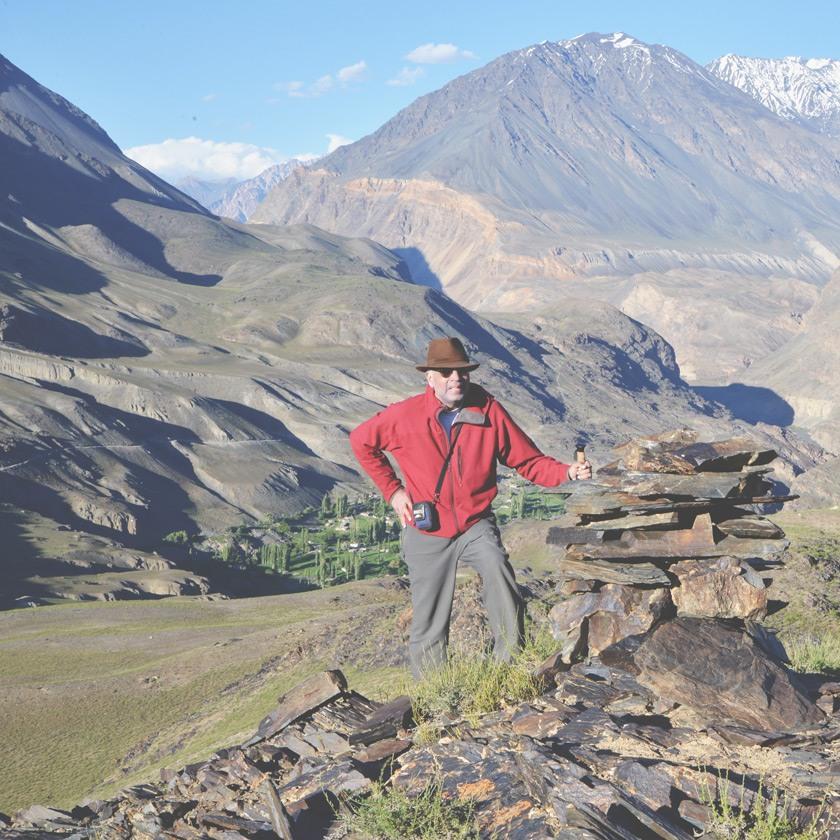 Karim-Aly Kassam in the Pamir Mountains, overlooking the village of Savnob in GornoBadakhshan Autonomous Oblast, Tajikistan.