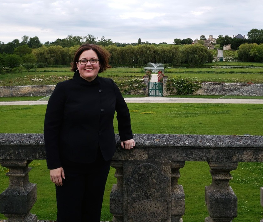 Cornell's Blind Wine Tasting Competition team competed in Bordeaux in June 2019. Cheryl at the finals at Château Lafite Rothschild.