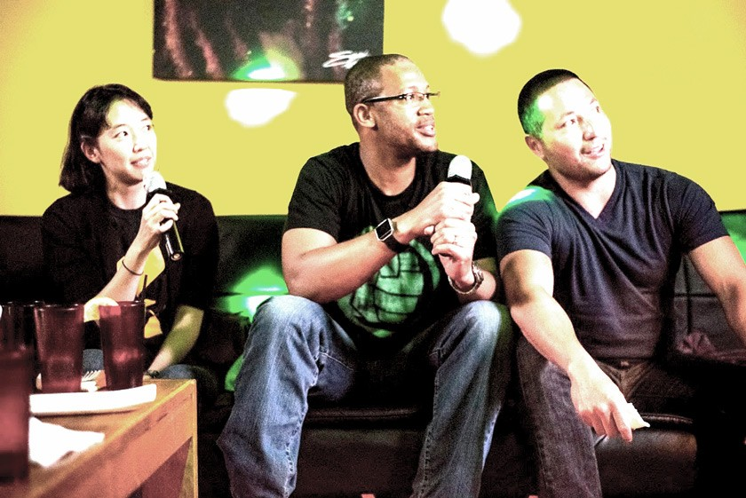 "(from left to right) Christine Kitano, Tyrell Stewart-Harris, and Nick Kowalczyk singing karaoke. ""I am a terrible singer,"" Tyrell says, ""but I will sing non-stop if given the chance."""