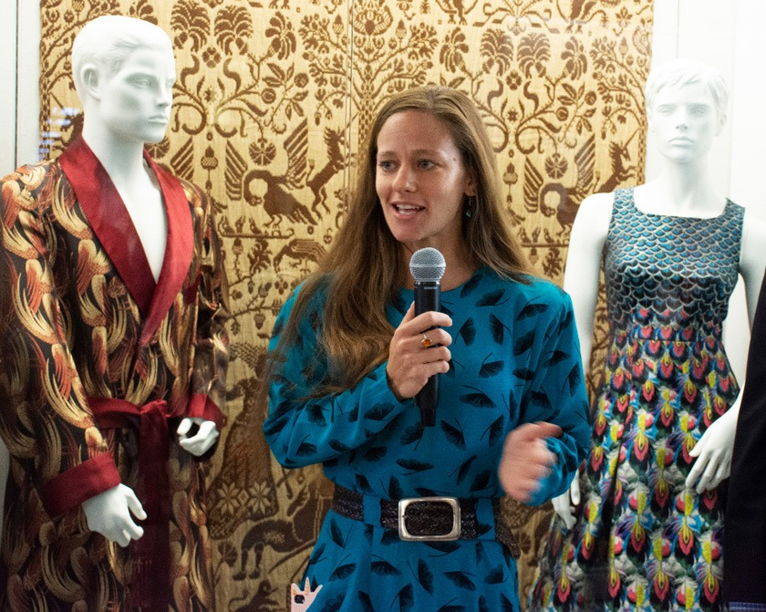 Denise Nicole Green speaks at the opening of Fashion & Feathers in October 2019. The exhibition was a collaboration between the Cornell University Museum of Vertebrates, the Lab of Ornithology, and the Cornell Fashion + Textile Collection.