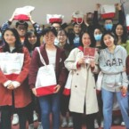 Study Away students at China Agricultural University pose with their care packages