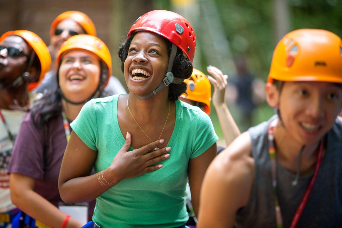 Law School students participate in teambuilding exercises at the Hoffman Challenge Course.