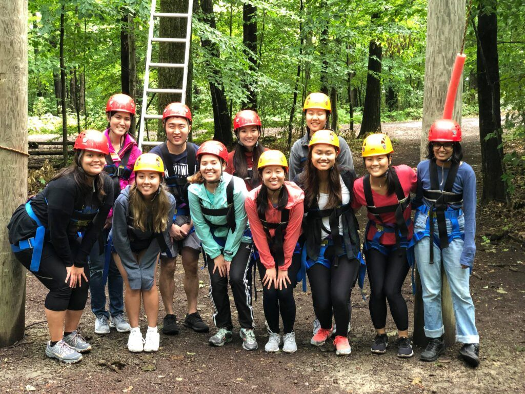 A3C interns and staff take part in team building exercises.