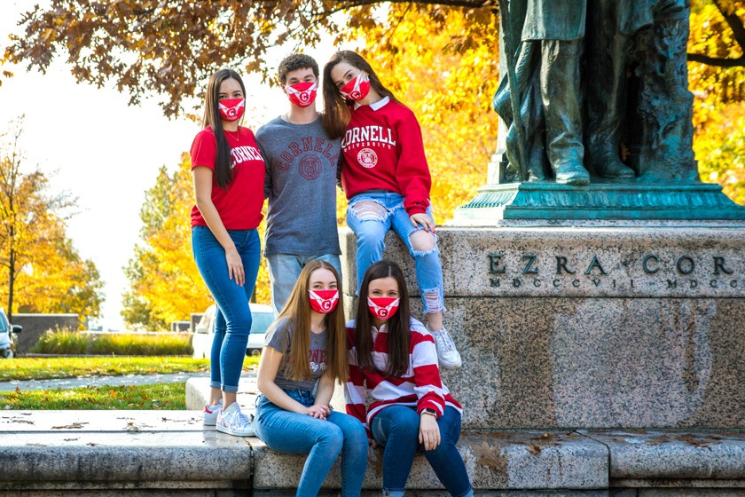 A small group of Cornell University Dance Team members on campus in fall 2020.