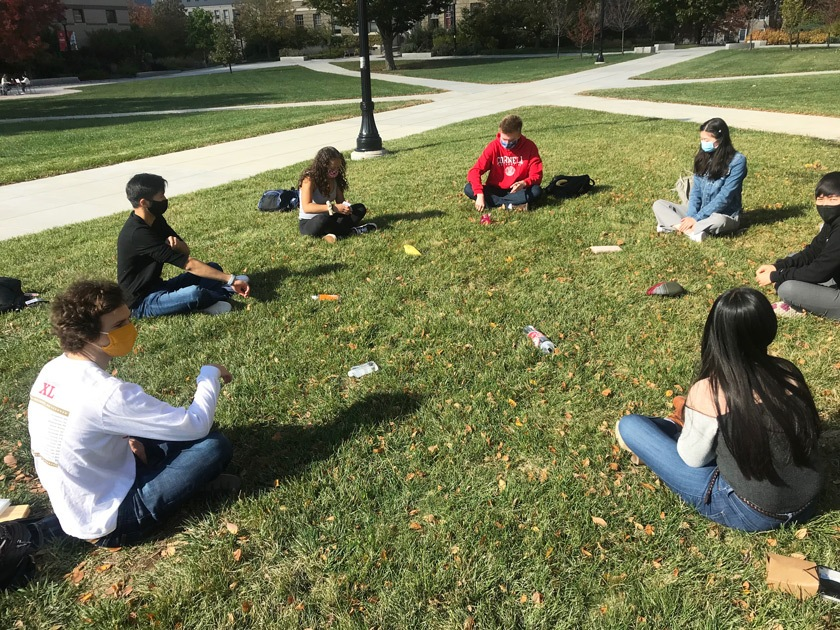 Glee Club and Chorus members at an in-person, socially-distant event on the Ag Quad.
