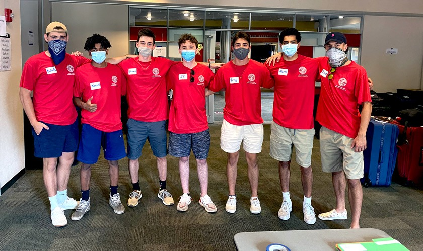 Several members of Chi Psi fraternity who volunteered to help with move-in in August 2020.