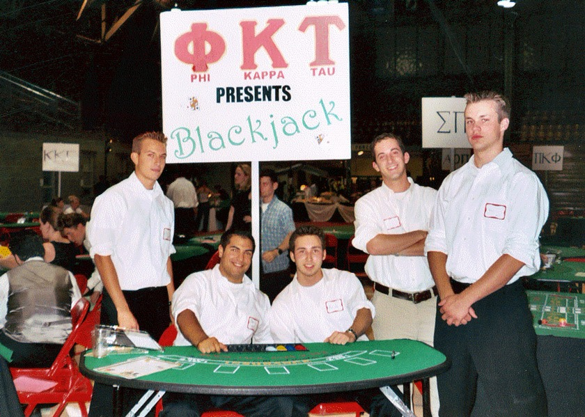 Dan Schiff says that he learned a tremendous amount about leadership and management from his time in a Greek organization at Cornell. Here, Dan (second from right) and his fraternity brothers are participating a casino night fundraiser.