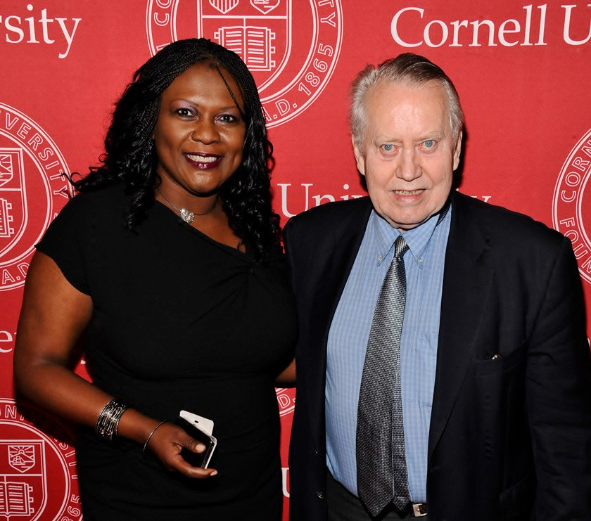 Liz Ngonzi MMH '98 with fellow Hotelie, Chuck Feeney, during the 4th Cornell Hospitality Icon and Innovator Awards in 2012, for which she and her firm at the time, Amazing Taste, LLC served as the marketing and event strategist.