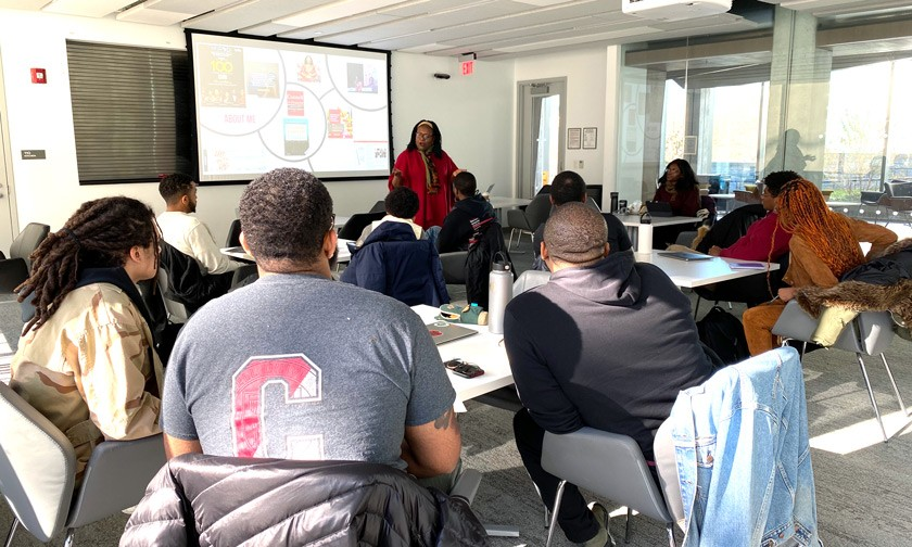 Liz Ngonzi delivering a digital storytelling seminar in November 2017 to the second cohort of Cornell Black Entrepreneurs in Training.
