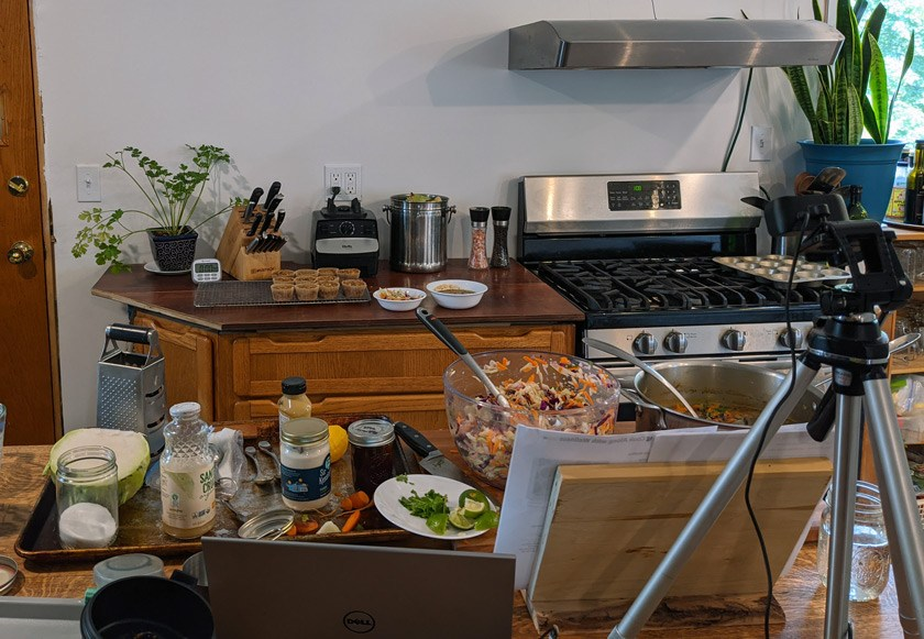 Behind the scenes in Erin Harner's kitchen after the Cook Along with Me class.