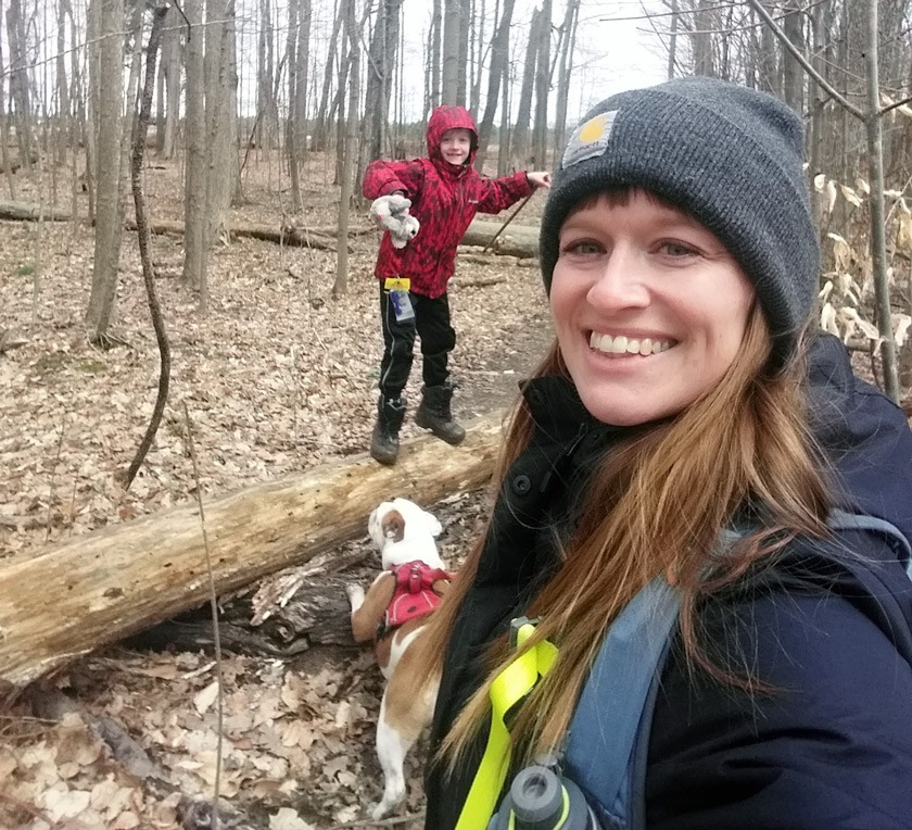Keri Johnson hiking with her son Zyphyr and their dog Nayla.