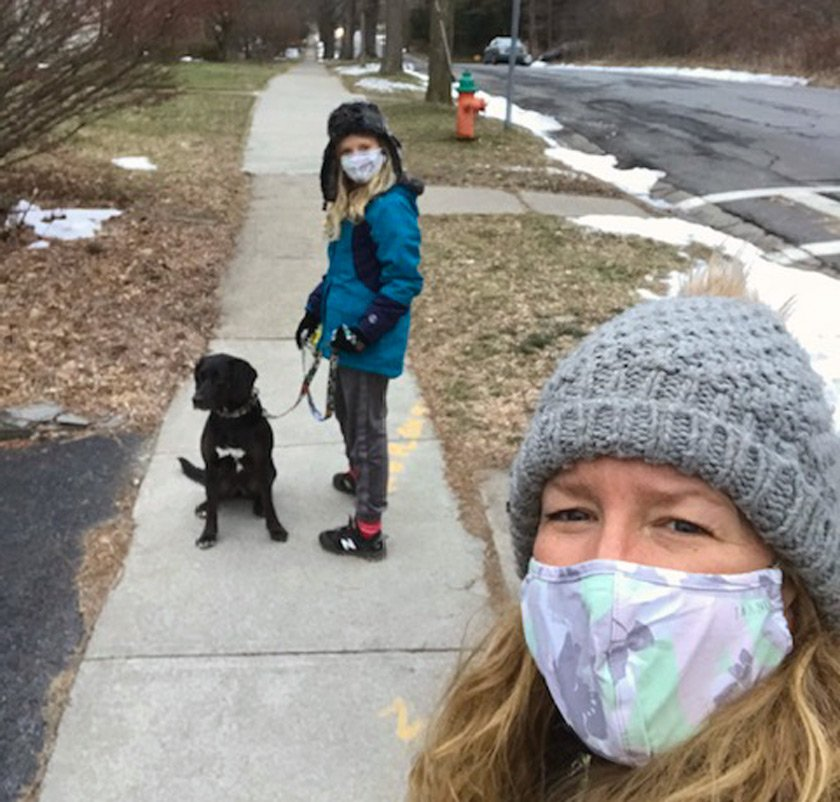 Ruth Merle-Doyle bookends her workday with a family dog walk.