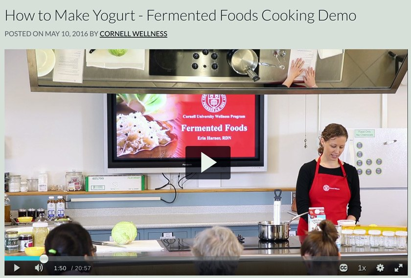 Wellness dietician and nutritionist Erin Harner demonstrating how to make yogurt at an in-person cooking demo before the pandemic.