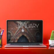 January calendar on a laptop