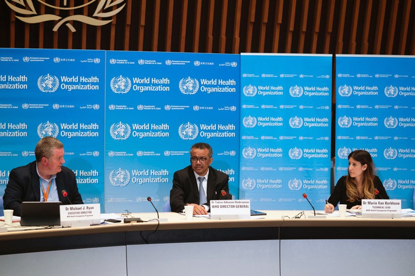 Dr. Van Kerkhove with colleagues at a WHO press conference