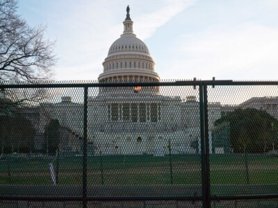 Protective fencing at the U.S. Capitol in Washington, DC