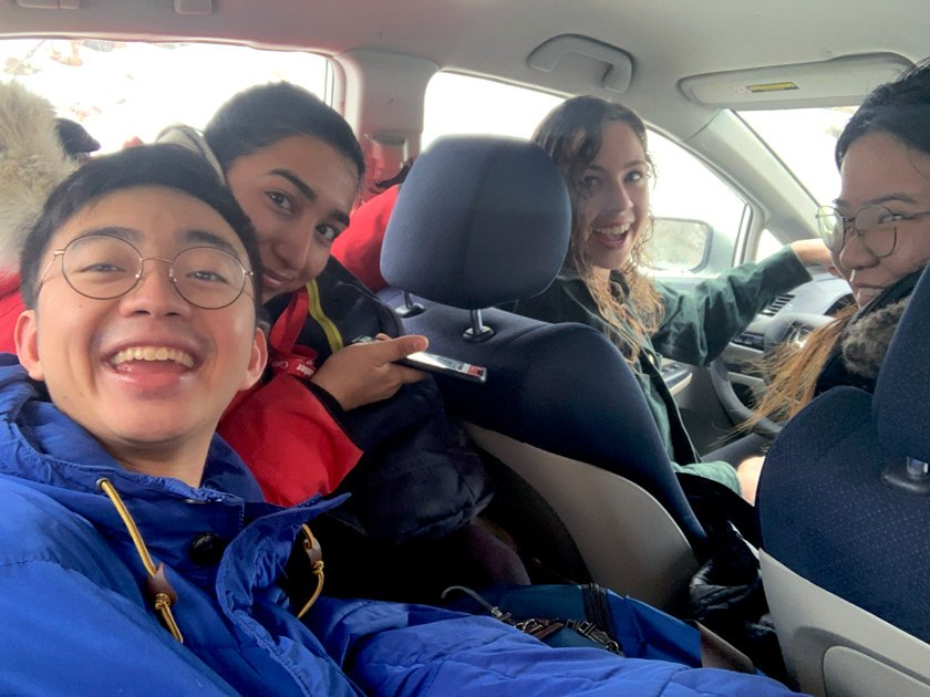 Engaged Ambassadors heading to lead a workshop as part of the Engaged Certificate Program in Nov 2018. From L to R: Dustin Liu '19, Chenab Kakh '20, Emma Runge '20, Winnie Ho '19