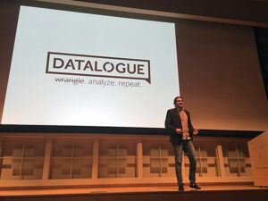 CEO and co-founder Tim Delisle MS '17 gives a presentation on his company, Datalogue.Datalogue's technologytakes raw data and rapidly translates it into actionable insights.