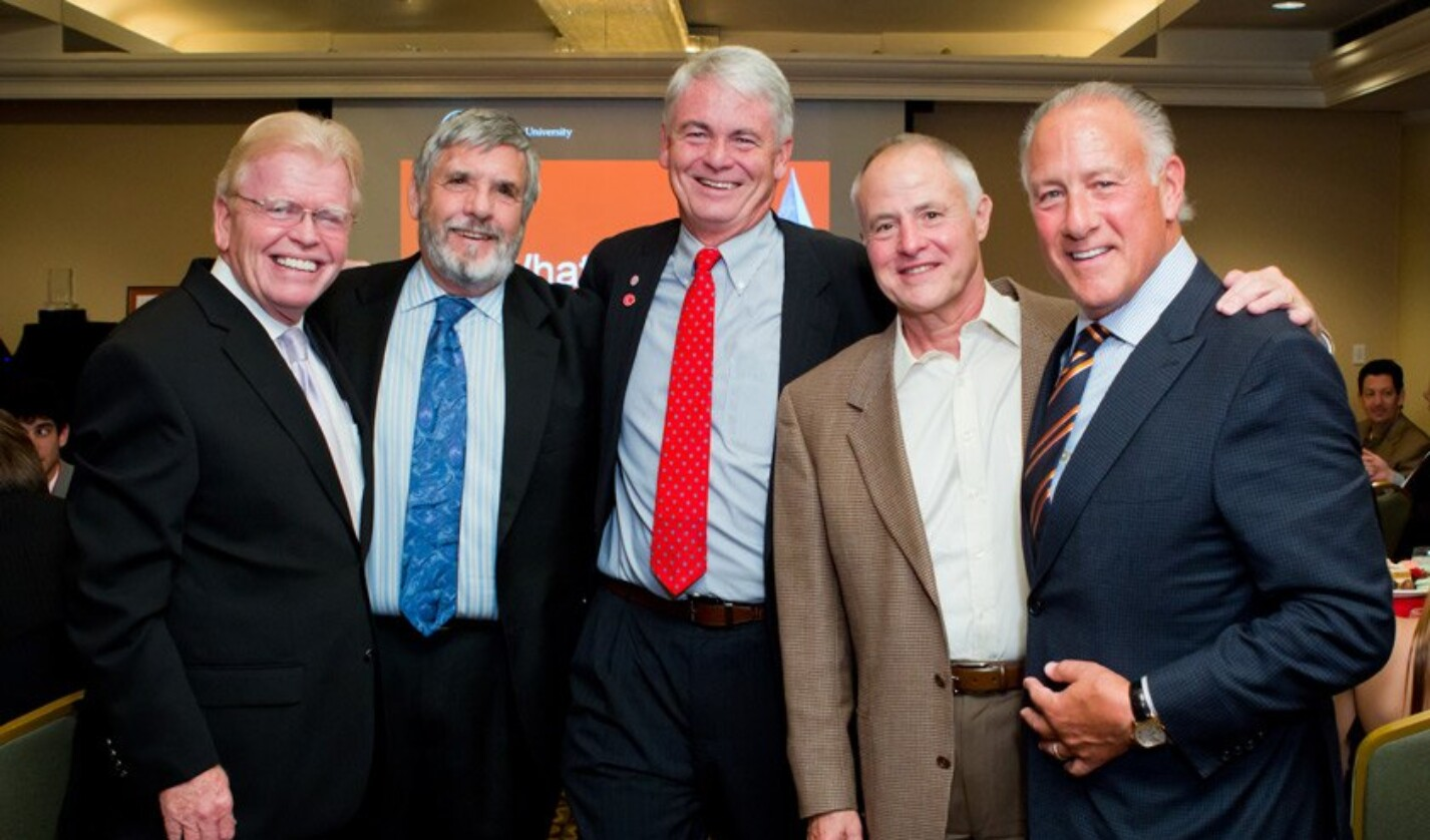 Five past recipients of the Cornell Entrepreneur of the Year award and strong supporters of the Cornell entrepreneurial community: (L to R) Red Bear Angel (RBA) member Kevin McGovern '70; Robert Felton '61; RBA co-founder John Alexander '74, MBA '76; RBA member Jeff Parker '65, MEng '66, MBA '70; and RBA co-founder Harvey Kinzelberg '67