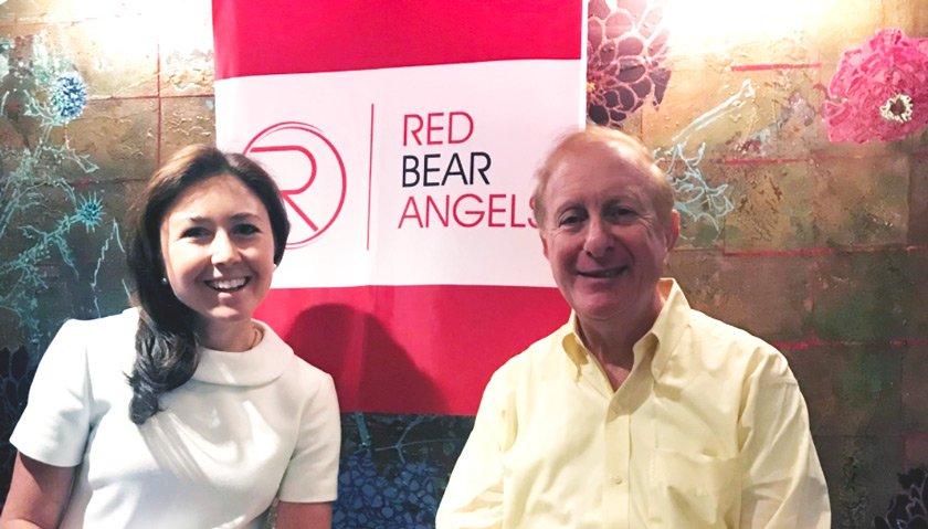RBA member Meghan Cross '08 and venture capitalist Howard Morgan PhD '68 at a pre-pandemic RBA event at Union Square Café