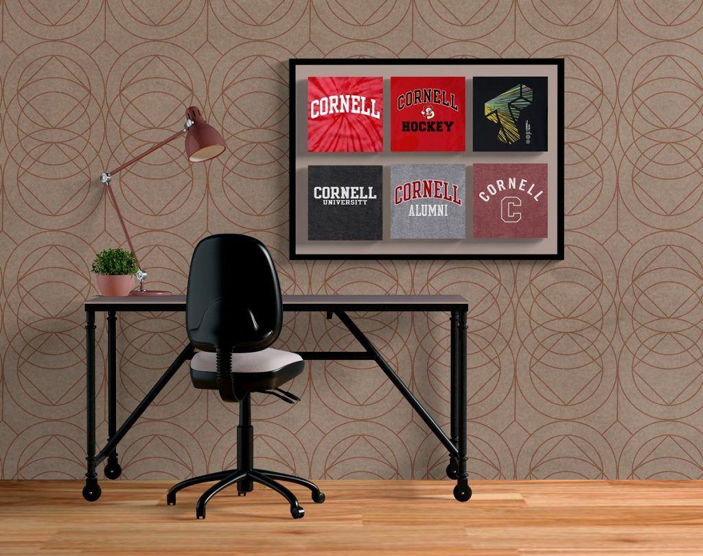 Upcycled Cornell tee shirt wall art.