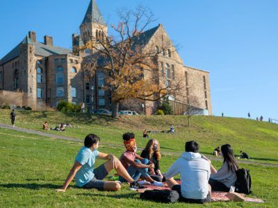 Students study and socialize on Libe Slope.