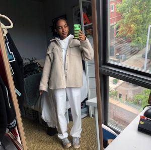 Akua Kwakwa '20 takes a selfie in her NYC apartment.