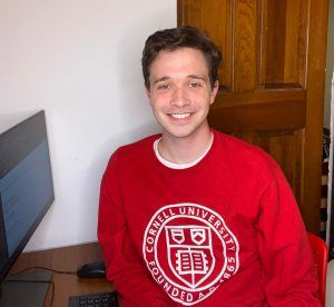 Cole Johnston '20 working from home for Cornell Alumni Affairs and Development