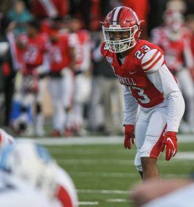 Jelani Taylor '20 playing football at Cornell in the last game of his senior year