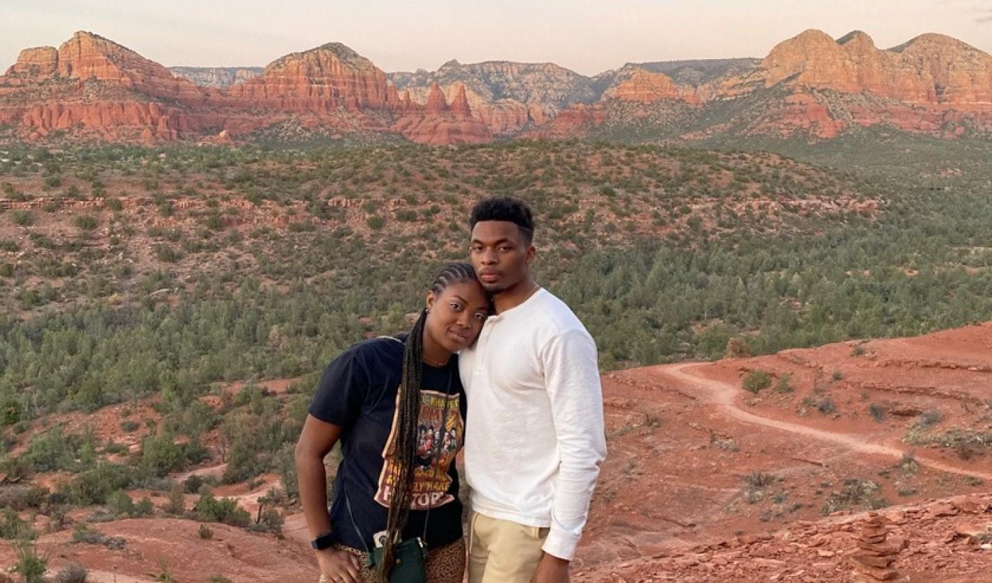 Jelani Taylor '20 and his girlfriend Tyshaia Earnest hiking in Arizona in April 2021