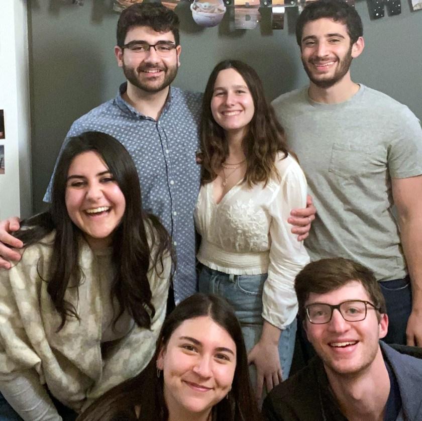 John celebrating his second pandemic birthday in Ithaca in 2021. Front row L to R: Natalie Sullivan Baker '22, Shayna Hochberger '21, Mike Gelb '21; Back row L to R: John Sullivan Baker '20, Alexis Fintland '22, Jason Katz '21