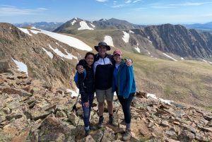 Maya Cutforth '20, her father Nick Cutforth, and her sister Asia Cutforth hiking Mount Flora near Idaho Springs, Colorado in July 2020