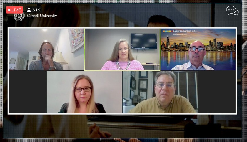 Screenshot of panelists, top row (L to R): David Sherwyn '86, JD '89, Abigail Charpentier '95, David Ritter '80; bottom row (L to R): Christine Hogan, John Boardman