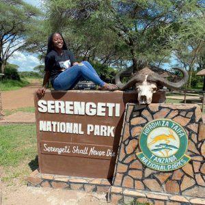 Valencia Lambert '20 at the Mwanza entrance of Serengeti National Park, Tanzania