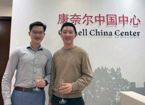Fuzhong Luo LLM '20 and Yifan Li '20 at a wine tasting event organized by the Cornell Alumni Club of Beijing in March 2021