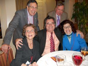 Members of the Class of 1961 60th Reunion committee. Top row L to R: Marshall Frank '61 and Jim Moore '61, JD '64. Bottom row L to R: Roseanna Romanelli Frank '61; Frank Cuzzi '61, MBA '64; and Bobbie Horowitz '61