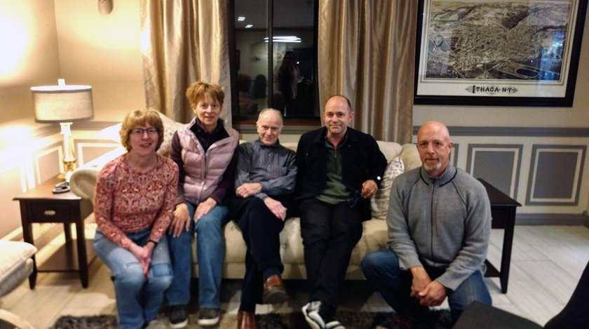 Harold (center) in May 2018, when he served as a guest lecturer in the new Cornell course on the history of unemployment. Here, he is flanked by his four children (from L to R): Anne Louise '80, Christine '81, Harold '52, Peter, and Stephen Oaklander.