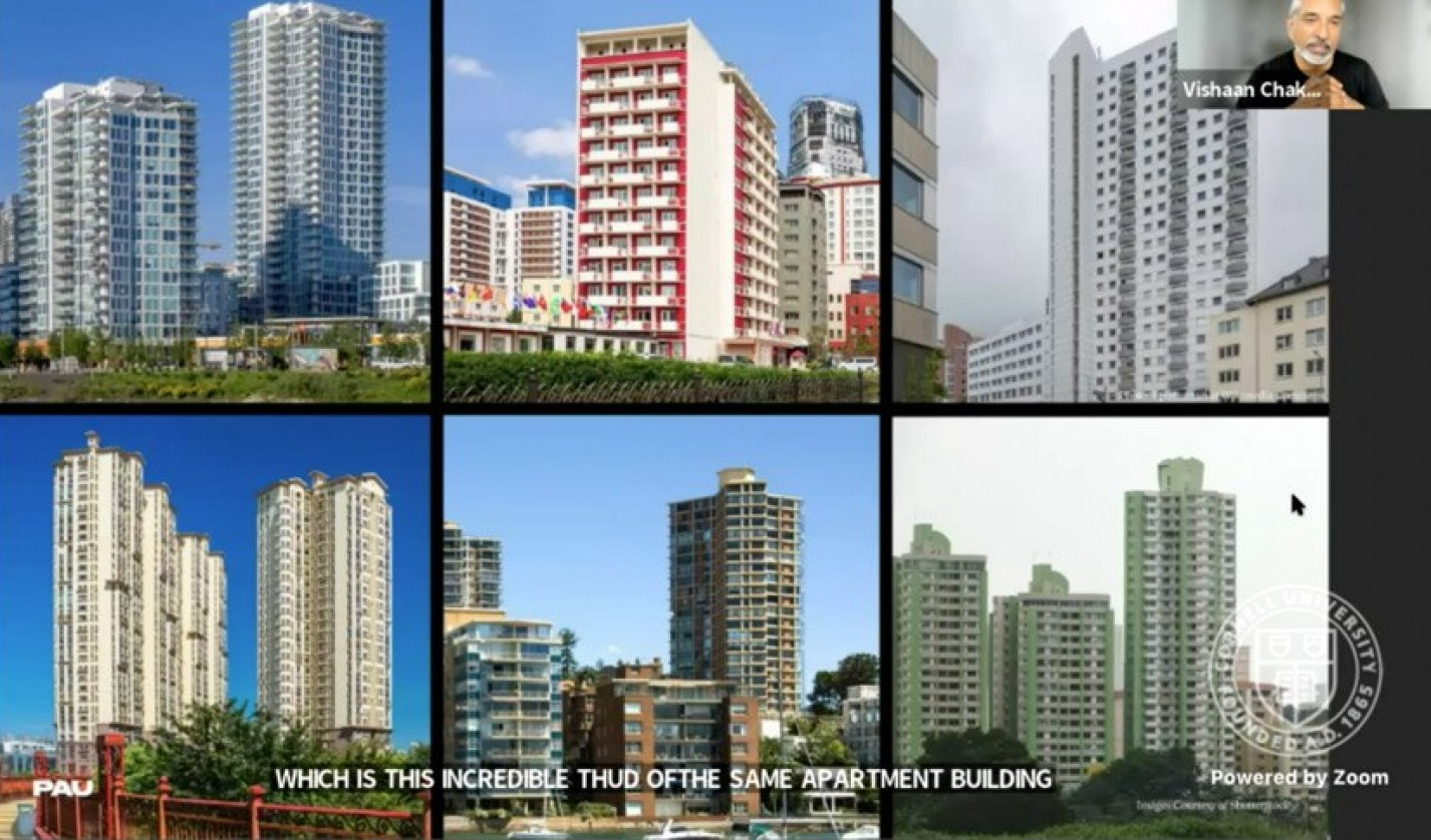 """Slide by Vishaan Chakrabarti '88, founder and Creative Director, PAU, illustrating what he calls the """"incredible thud of the same apartment building"""" in cities across the globe"""