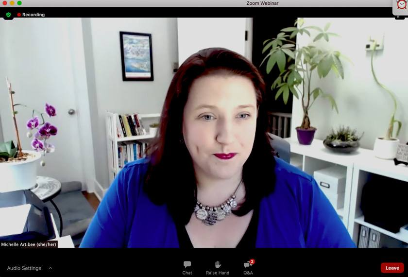 Screenshot of Michelle Artibee, director of workforce wellbeing at Cornell