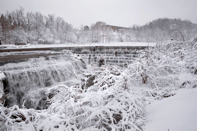Beebe Lake and Beebe Dam in winter
