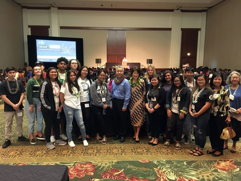Hawai'i Governor David Ige and First Lady Dawn Amano-Ige with students from high schools on O'ahu at the 2019 LEI (Leadership Exploration Inspiration) program.