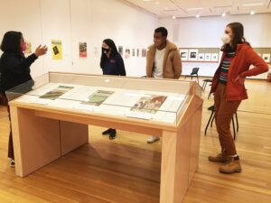 Durba Ghosh (left) and her students at the Johnson Museum in March 2021