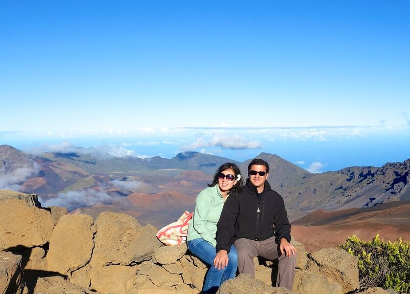 Esteban Gazel and his wife, Naya Sou, assistant dean of the College of Arts and Sciences, conducting field work in Haleakala, Maui