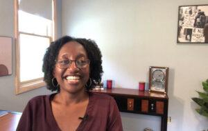Jamila Michener teaching from her guest room at home during the pandemic