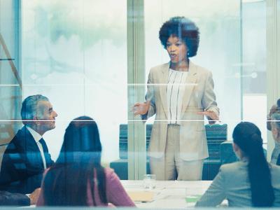 woman leading a company