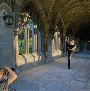 Dancer and new member Aleks Cornforth '25 at the fall 2021 Pandora photo shoot Credit: Lindsey Forg