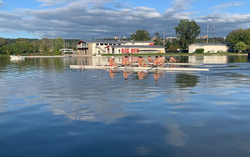 Men's Lightweight Team members at afternoon practice on Cayuga Lake