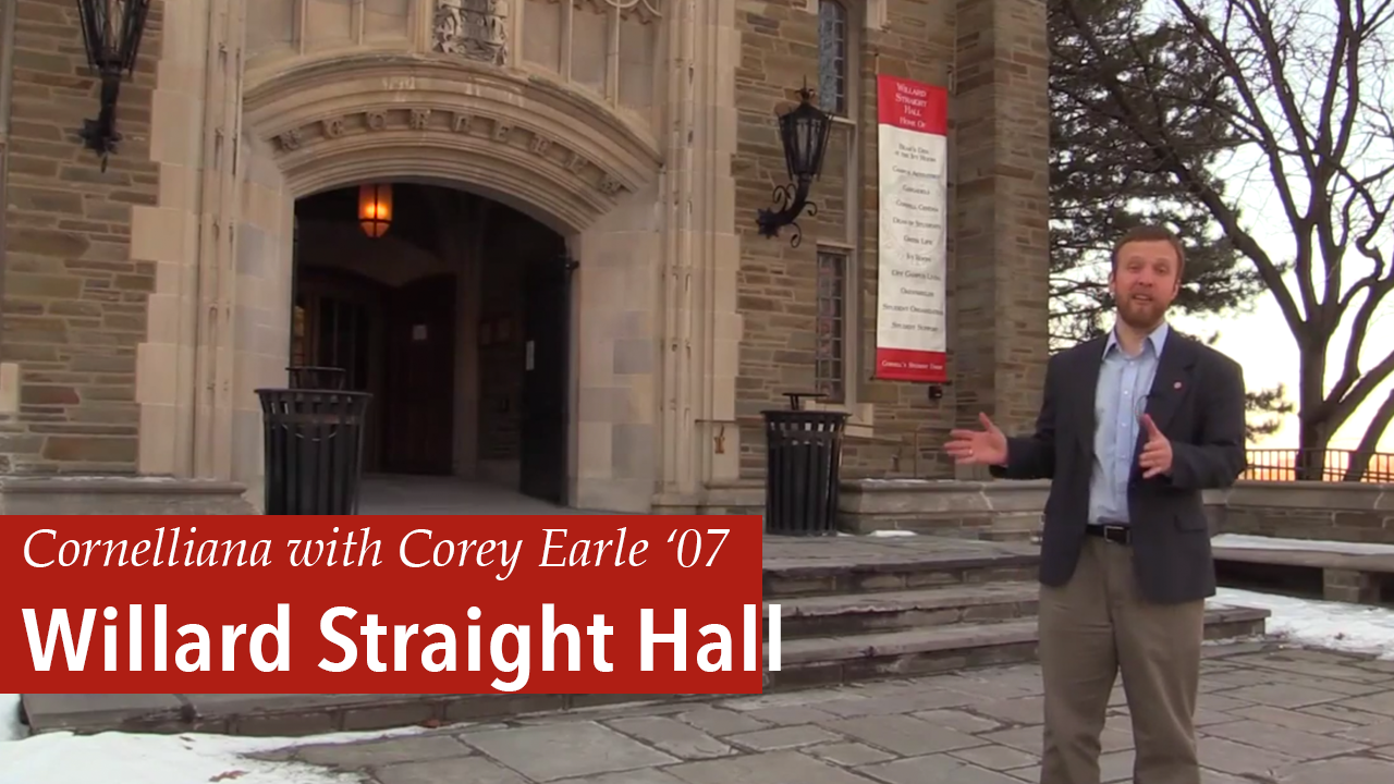Corey Earle giving a tour of Willard Straight Hall